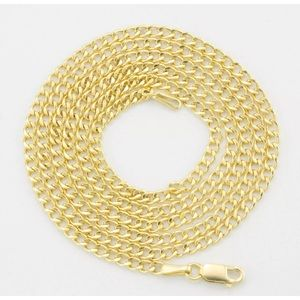 "Jewelry - 24"" SOLID Yellow Gold Cuban Necklace Chain Men"